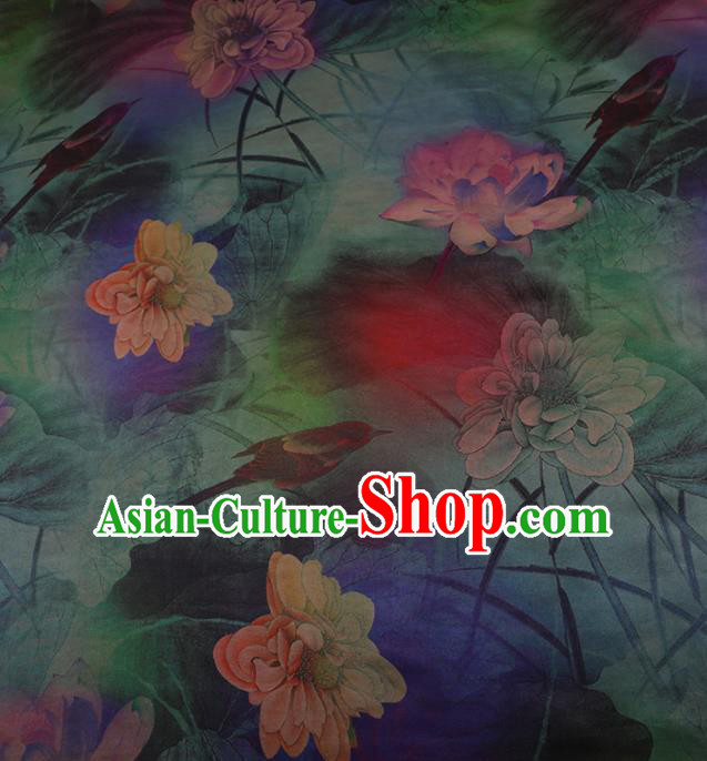 Chinese Traditional Drapery Blue Silk Fabric Palace Lotus Pattern Cheongsam Satin Plain Gambiered Guangdong Gauze