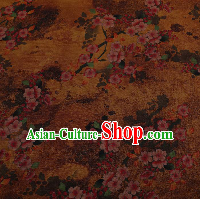 Chinese Traditional Drapery Yellow Silk Fabric Palace Plum Blossom Pattern Cheongsam Satin Plain Gambiered Guangdong Gauze