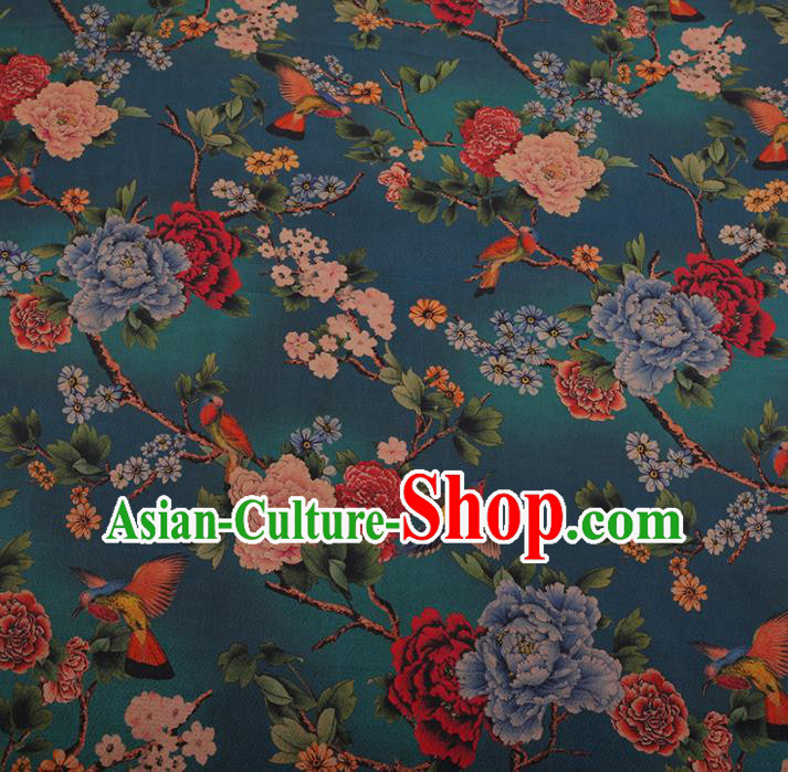Chinese Classical Cheongsam Drapery Green Silk Fabric Traditional Peony Pattern Satin Plain Gambiered Guangdong Gauze