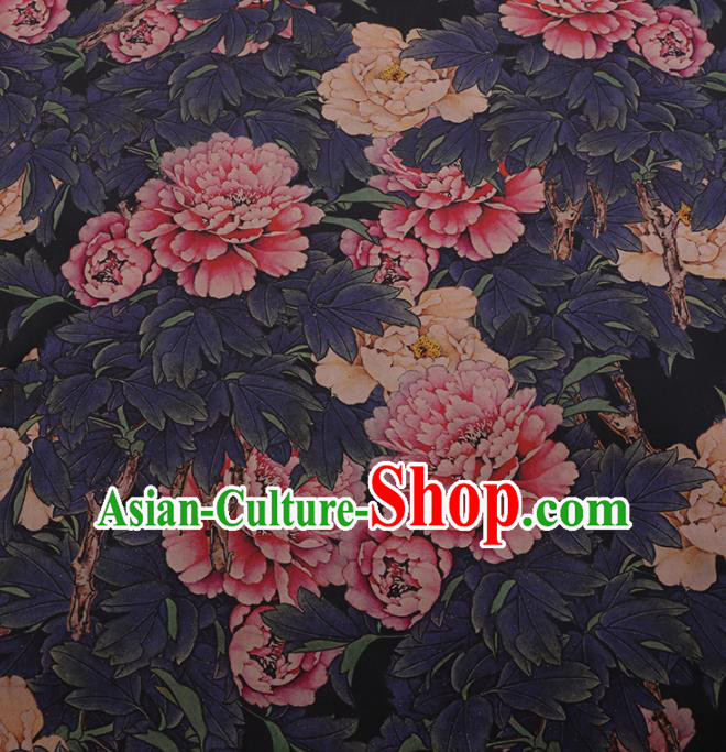 Chinese Classical Navy Satin Plain Cheongsam Drapery Silk Fabric Traditional Peony Pattern Gambiered Guangdong Gauze