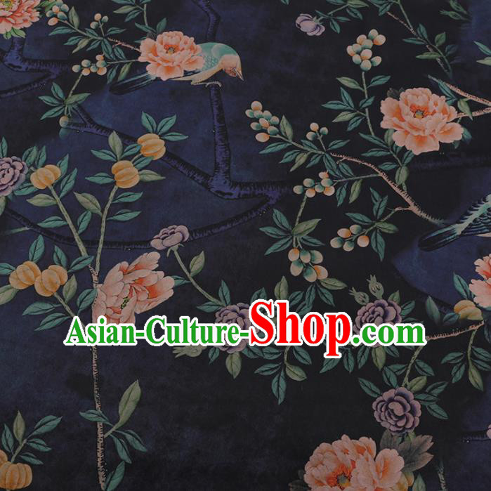 Chinese Classical Navy Satin Plain Cheongsam Drapery Silk Fabric Traditional Pattern Gambiered Guangdong Gauze