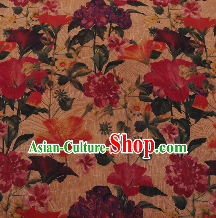 Chinese Classical Yellow Satin Plain Traditional Flowers Pattern Cheongsam Drapery Silk Fabric Gambiered Guangdong Gauze