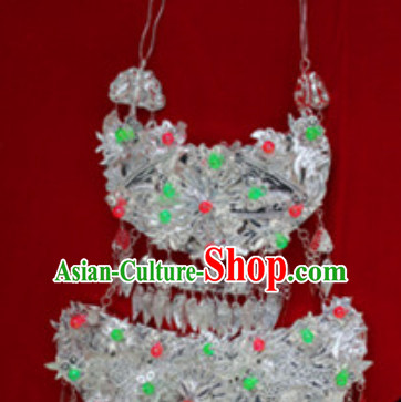 Traditional Chinese Miao Tribe Handmade Large Silver Necklace