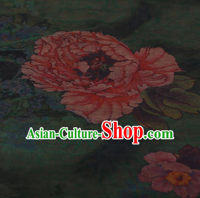 Chinese Traditional Green Silk Fabric Classical Peony Pattern Satin Plain Cheongsam Drapery Gambiered Guangdong Gauze