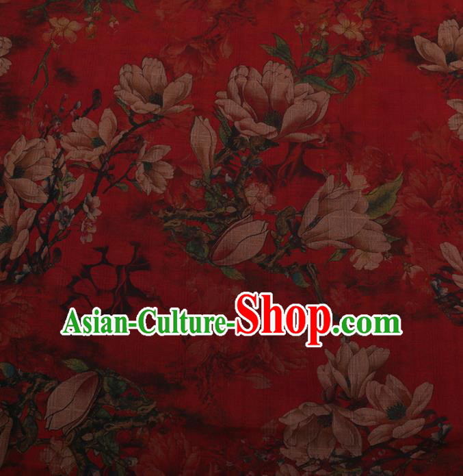 Chinese Traditional Silk Fabric Classical Magnolia Pattern Red Satin Plain Cheongsam Drapery Gambiered Guangdong Gauze