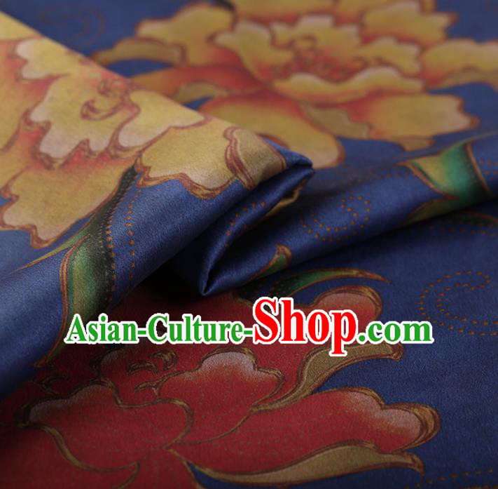 Chinese Traditional Silk Fabric Classical Peony Pattern Royalblue Satin Plain Cheongsam Drapery Gambiered Guangdong Gauze