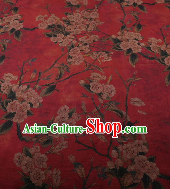 Chinese Traditional Silk Fabric Classical Plum Blossom Pattern Red Satin Plain Cheongsam Drapery Gambiered Guangdong Gauze