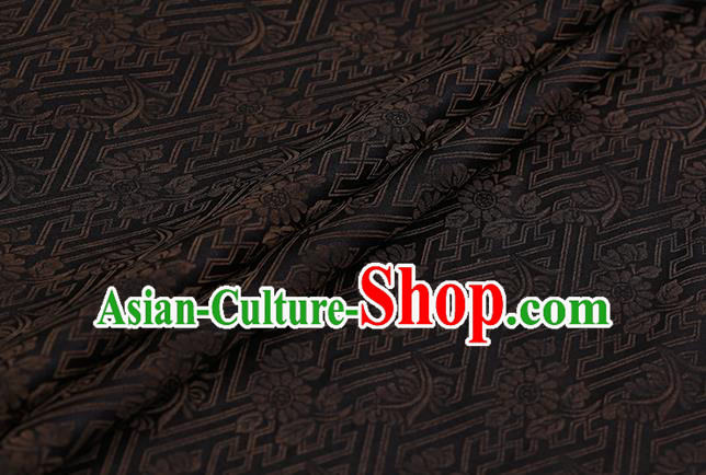 Chinese Classical Silk Fabric Traditional Brown Pattern Satin Plain Cheongsam Drapery Gambiered Guangdong Gauze