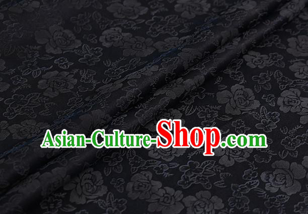 Chinese Classical Black Silk Fabric Traditional Roses Pattern Satin Plain Cheongsam Drapery Gambiered Guangdong Gauze