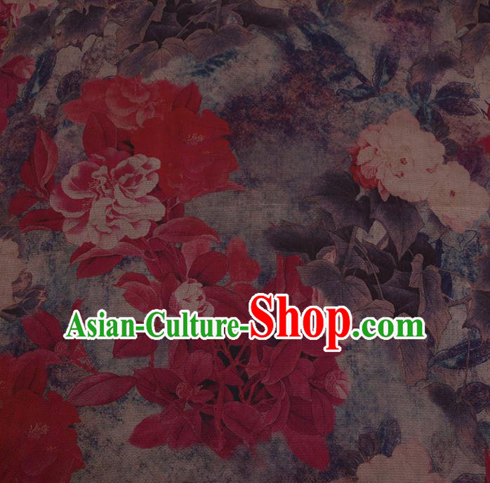 Chinese Classical Silk Fabric Traditional Red Flowers Pattern Satin Plain Cheongsam Drapery Gambiered Guangdong Gauze