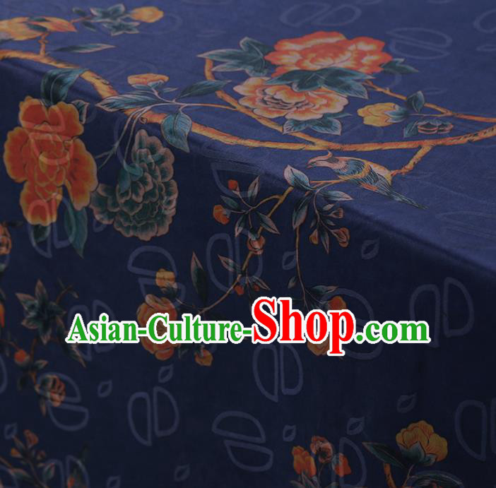 Chinese Classical Silk Fabric Traditional Peony Pattern Blue Satin Plain Cheongsam Drapery Gambiered Guangdong Gauze