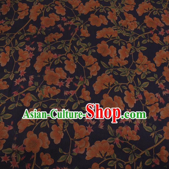 Chinese Classical Silk Fabric Traditional Pattern Navy Satin Plain Cheongsam Drapery Gambiered Guangdong Gauze