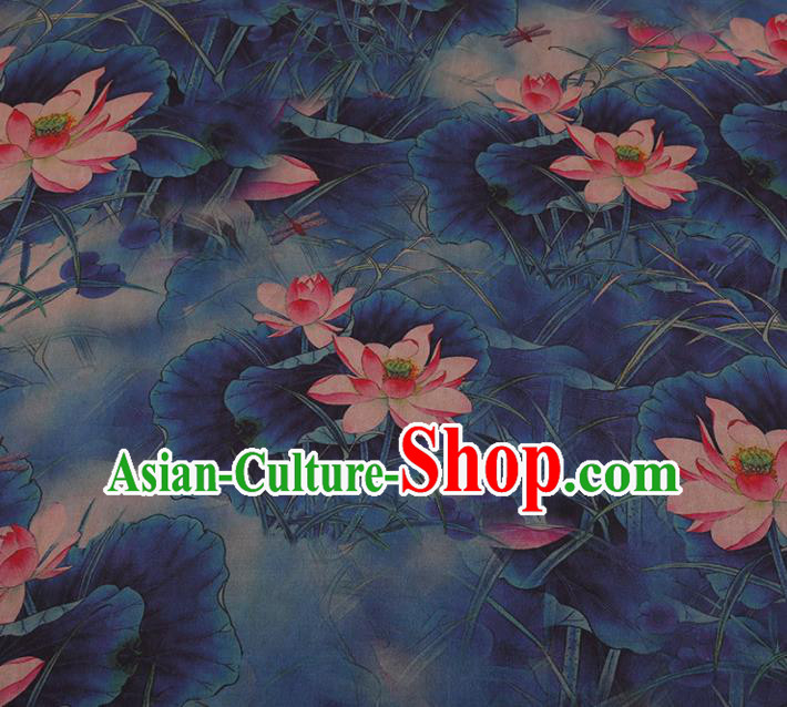 Chinese Classical Navy Satin Plain Traditional Lotus Pattern Cheongsam Drapery Silk Fabric Gambiered Guangdong Gauze