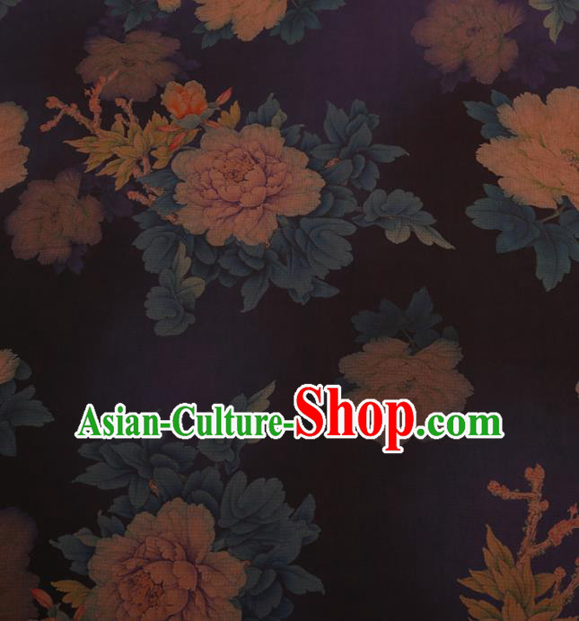 Chinese Classical Navy Silk Fabric Satin Plain Traditional Peony Pattern Cheongsam Drapery Gambiered Guangdong Gauze
