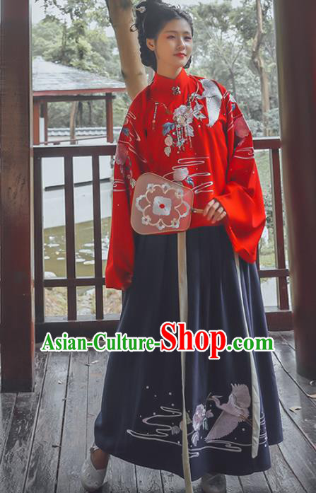 Chinese Ming Dynasty Princess Costumes Ancient Nobility Lady Embroidered Blouse and Skirt for Women