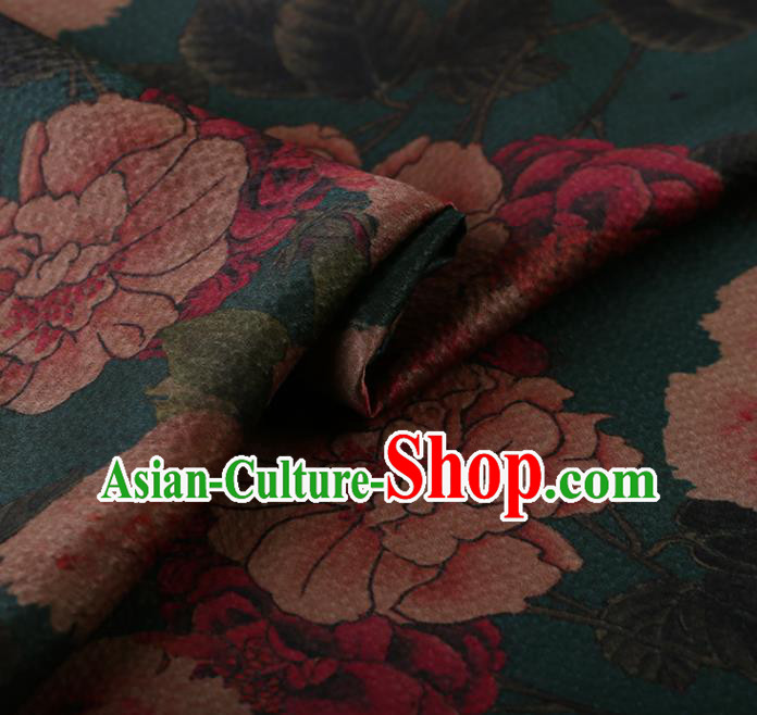 Asian Chinese Silk Fabric Traditional Classical Peony Pattern Green Satin Plain Cheongsam Drapery Gambiered Guangdong Gauze