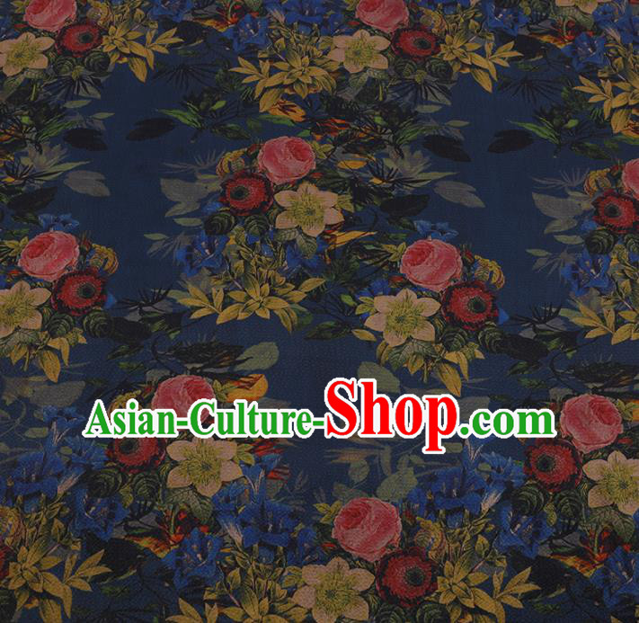 Chinese Traditional Silk Fabric Classical Roses Pattern Blue Satin Plain Cheongsam Drapery Gambiered Guangdong Gauze