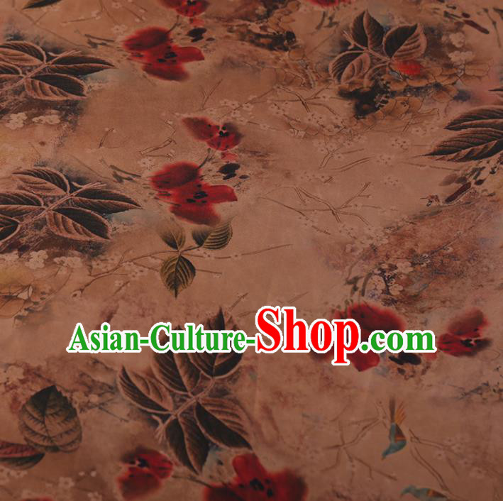 Chinese Traditional Silk Fabric Classical Leaf Pattern Satin Plain Cheongsam Drapery Gambiered Guangdong Gauze
