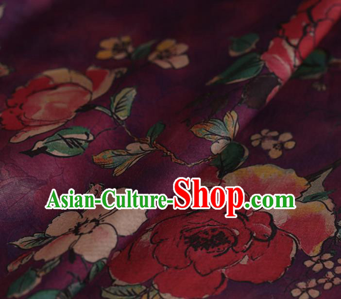 Asian Chinese Silk Fabric Traditional Classical Roses Pattern Purple Satin Plain Cheongsam Drapery Gambiered Guangdong Gauze