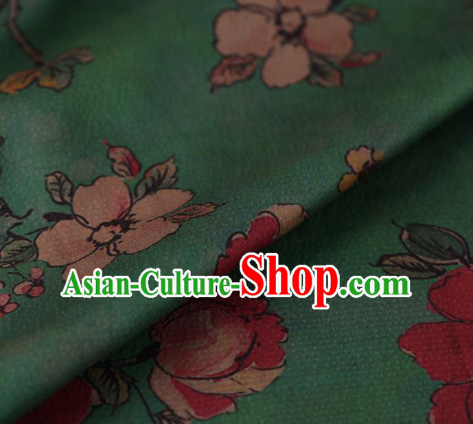 Asian Chinese Silk Fabric Traditional Classical Roses Pattern Green Satin Plain Cheongsam Drapery Gambiered Guangdong Gauze