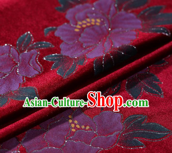 Asian Chinese Red Velvet Fabric Traditional Classical Peony Pattern Cheongsam Pleuche Drapery Gambiered Guangdong Gauze
