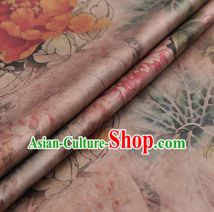 Asian Chinese Gambiered Guangdong Gauze Traditional Pink Satin Plain Classical Peony Pattern Cheongsam Silk Drapery
