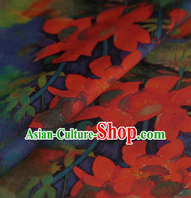 Asian Chinese Traditional Gambiered Guangdong Gauze Navy Satin Plain Classical Lotus Pattern Cheongsam Silk Drapery