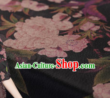 Chinese Traditional Black Gambiered Guangdong Gauze Satin Plain Classical Peony Pattern Cheongsam Silk Drapery