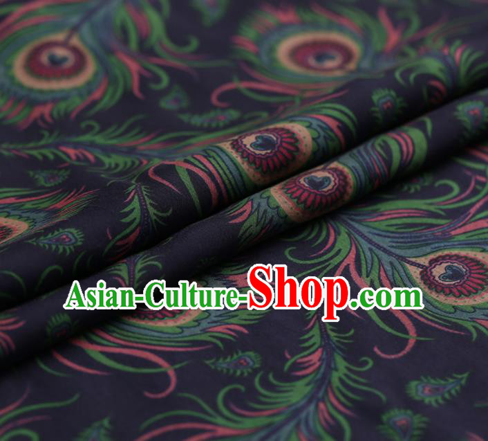 Traditional Chinese Navy Gambiered Guangdong Gauze Satin Plain Classical Pattern Cheongsam Silk Drapery