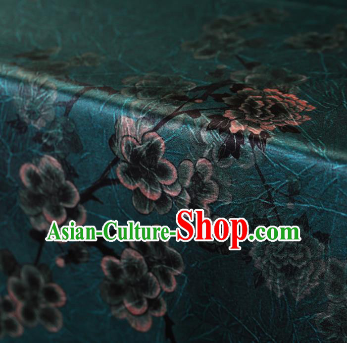 Traditional Chinese Green Gambiered Guangdong Gauze Satin Plain Classical Plum Blossom Pattern Cheongsam Silk Drapery