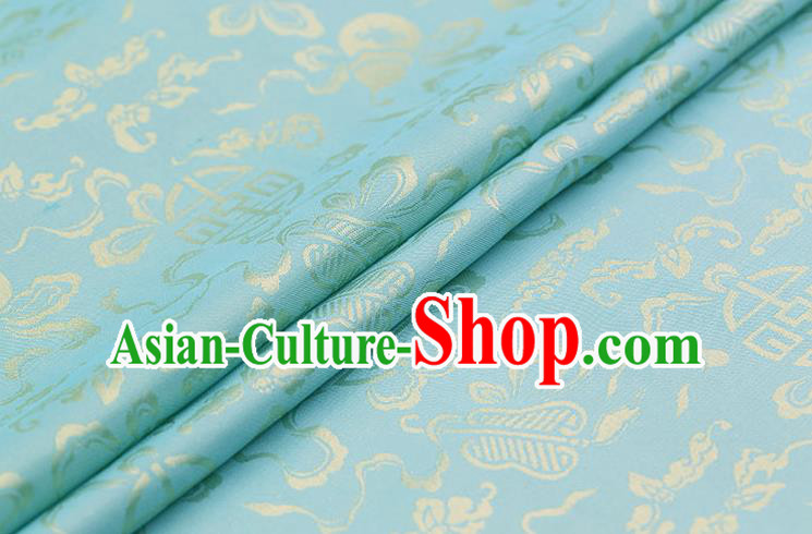 Traditional Chinese Light Blue Brocade Palace Cucurbit Ribbon Pattern Satin Plain Cheongsam Silk Drapery