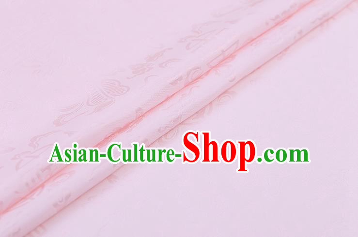 Traditional Chinese Pink Brocade Palace Cucurbit Ribbon Pattern Satin Plain Cheongsam Silk Drapery