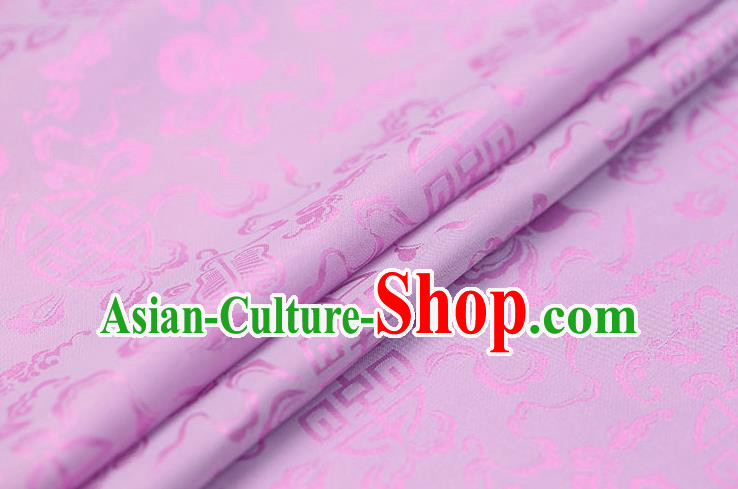 Traditional Chinese Lilac Brocade Palace Cucurbit Ribbon Pattern Satin Plain Cheongsam Silk Drapery