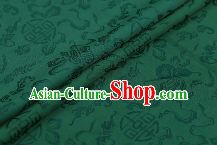 Traditional Chinese Deep Green Brocade Palace Cucurbit Ribbon Pattern Satin Plain Cheongsam Silk Drapery