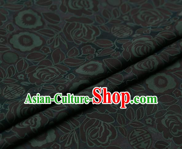 Chinese Traditional Gambiered Guangdong Gauze Fabric Palace Green Peony Pattern Satin Plain Cheongsam Silk Drapery
