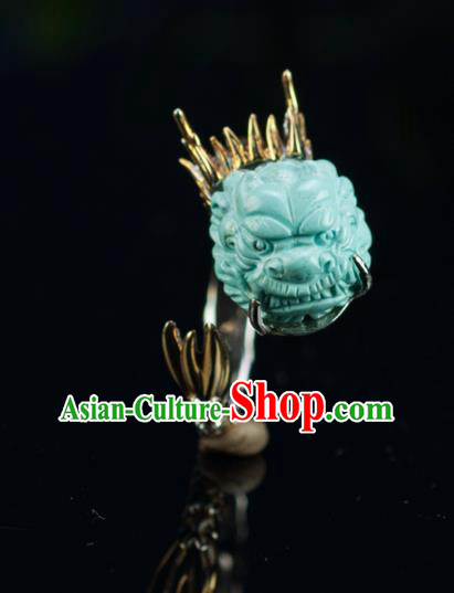 Chinese Traditional Jewelry Accessories Ancient Hanfu Kallaite Carving Dragon Rings for Women