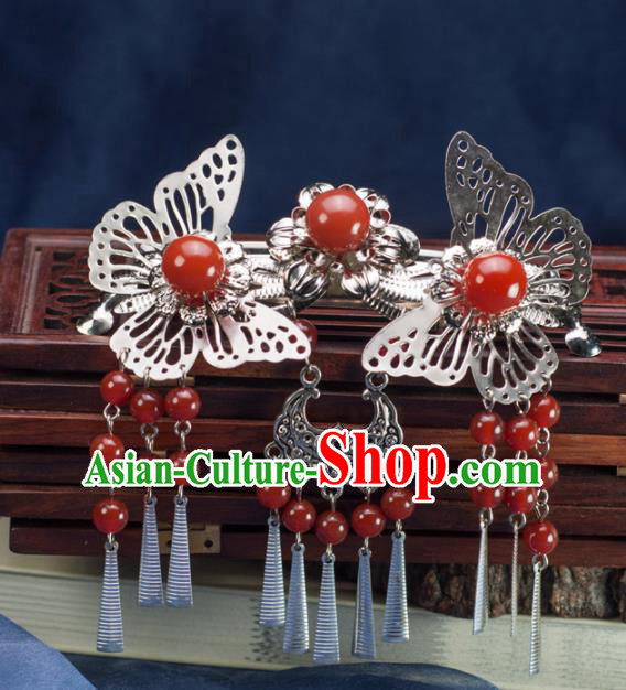 Chinese Traditional Hanfu Hair Accessories Ancient Red Agate Butterfly Hair Stick Tassel Hairpins for Women