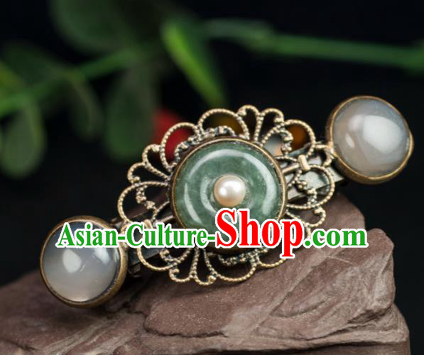 Chinese Traditional Hanfu Hair Accessories Ancient Jadeite Hair Claw Hairpins for Women