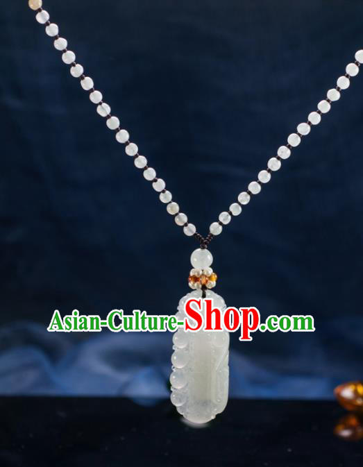 Chinese Traditional Jewelry Accessories Ancient Ice Jade Necklace Jadeite Carving Bamboo Pendant