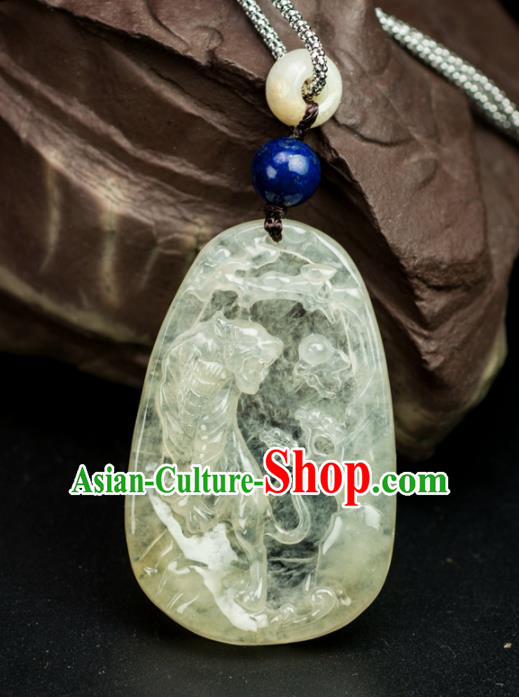 Chinese Traditional Jewelry Accessories Ancient Ice Jade Necklace Yellow Jadeite Carving Tiger Pendant
