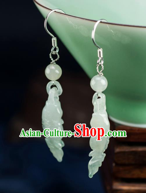 Chinese Traditional Jewelry Accessories Ancient Hanfu Jade Fishes Earrings for Women