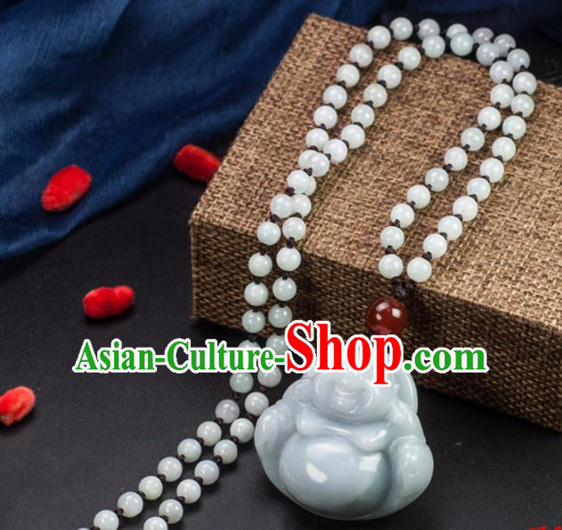 Chinese Traditional Jewelry Accessories Jade Maitreya Buddha Pendant Ancient Jadeite Necklace