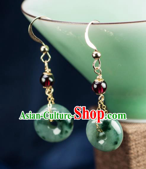 Chinese Traditional Jewelry Accessories Ancient Hanfu Jade Peace Buckle Earrings for Women