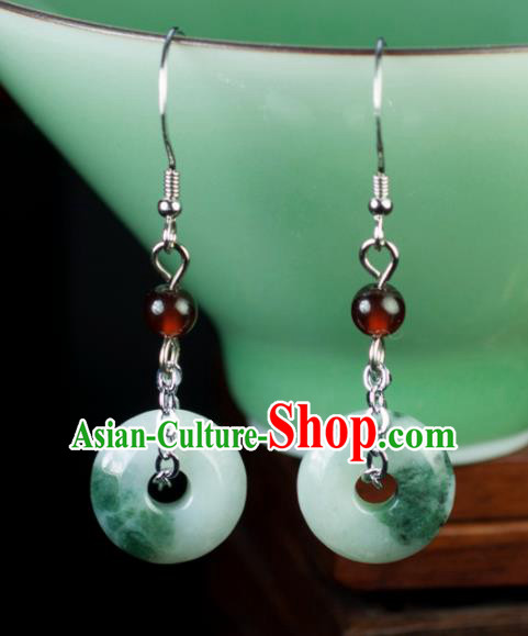 Chinese Traditional Jewelry Accessories Eardrop Ancient Hanfu Jade Earrings Pendant for Women