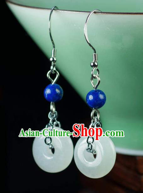 Chinese Traditional Jewelry Accessories Ancient Hanfu Jade Earrings Pendant for Women