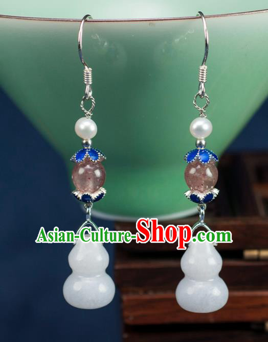 Chinese Traditional Jewelry Accessories Ancient Hanfu Jadeite Cucurbit Earrings for Women