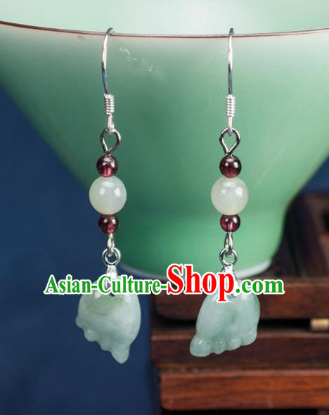 Chinese Traditional Jewelry Accessories Ancient Hanfu Jadeite Earrings for Women