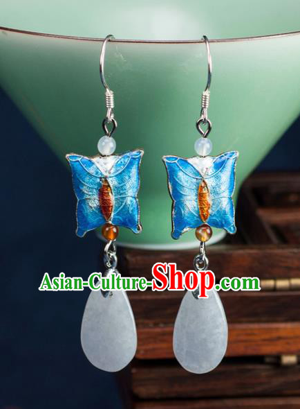 Chinese Traditional Jewelry Accessories Ancient Hanfu Blue Butterfly Earrings for Women