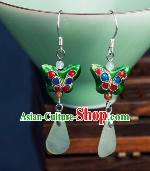 Chinese Traditional Jewelry Accessories Ancient Hanfu Green Butterfly Earrings for Women