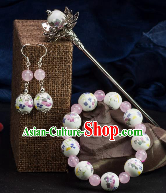 Chinese Traditional Hanfu Hair Accessories Ancient White Ceramics Hairpins and Bracelet Earrings for Women